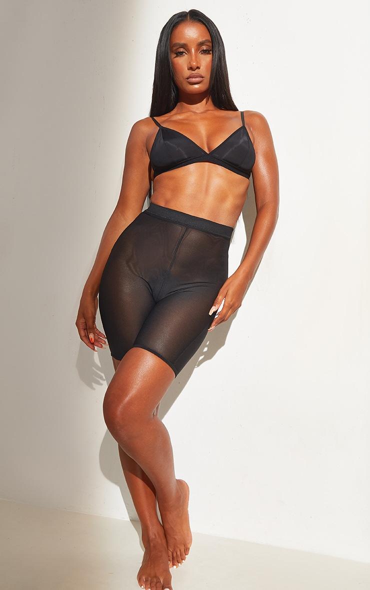 Black Shapewear Power Mesh Control Shorts 1