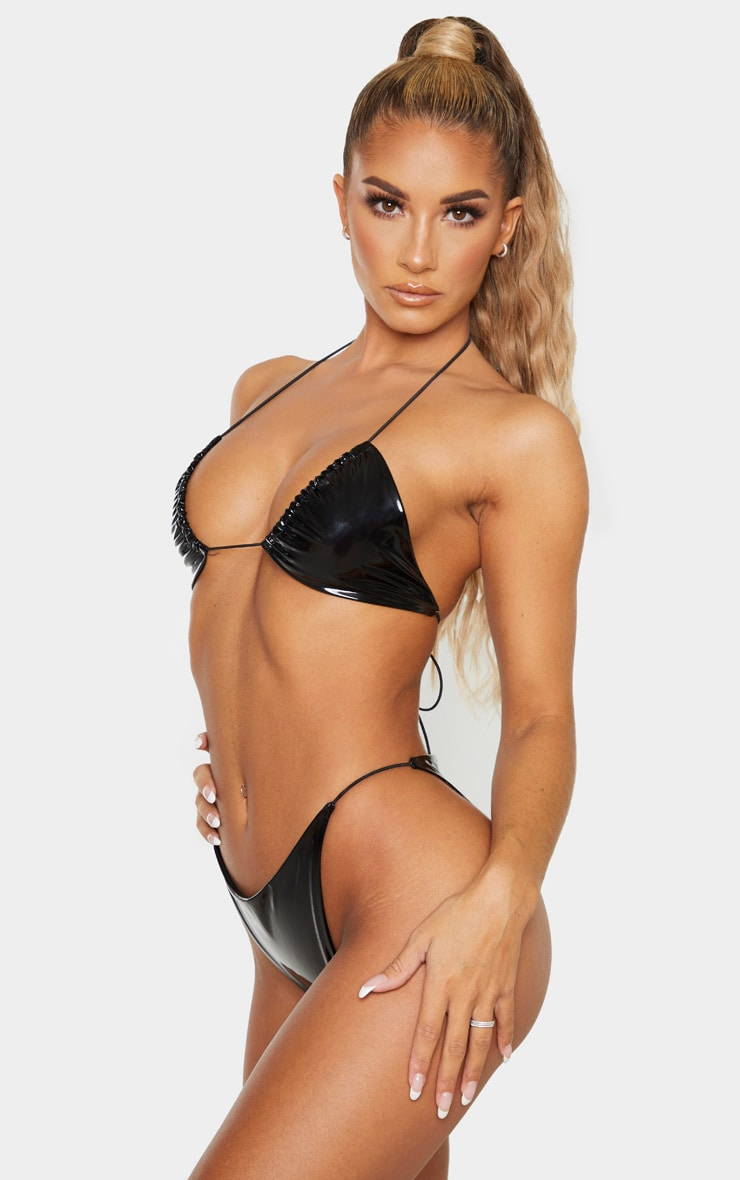 Bas de bikini en vinyle noir à lanières élastiques 2