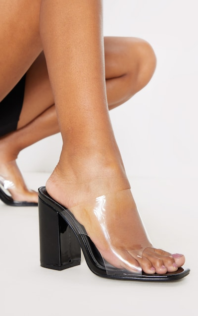 Black Square Toe Block Heel Clear Mule