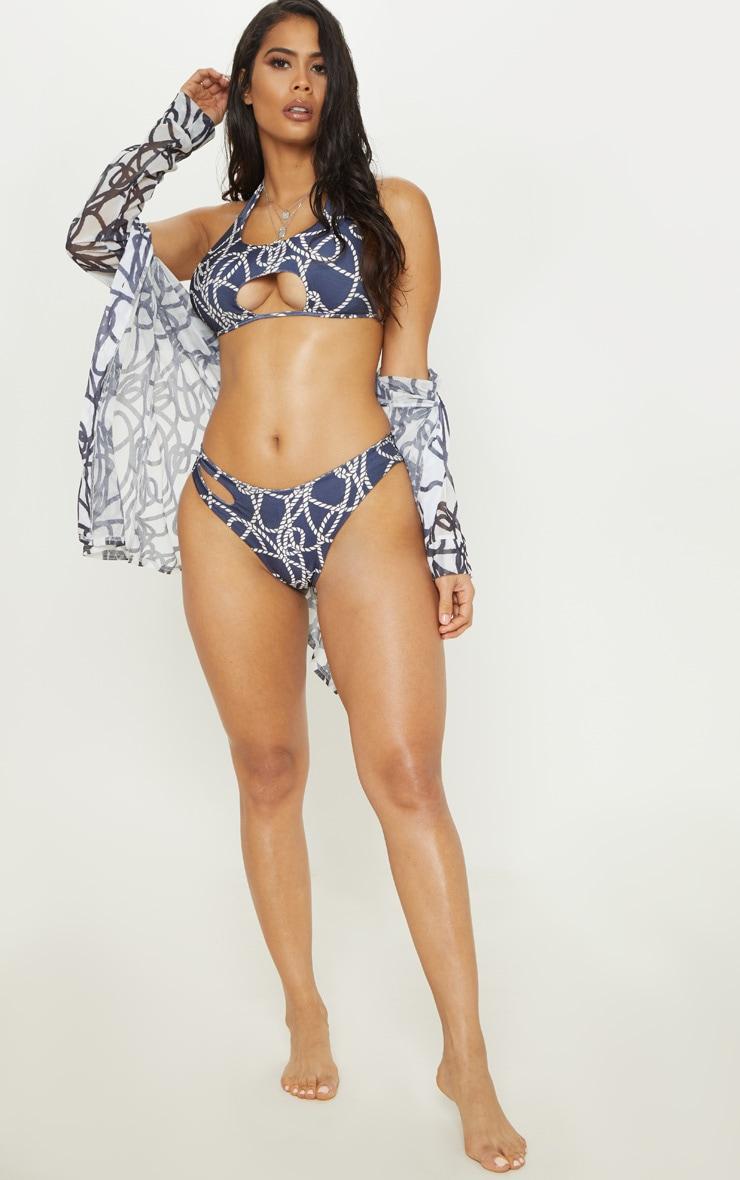 Navy Rope Print Cut Out Tie Bikini Top 4
