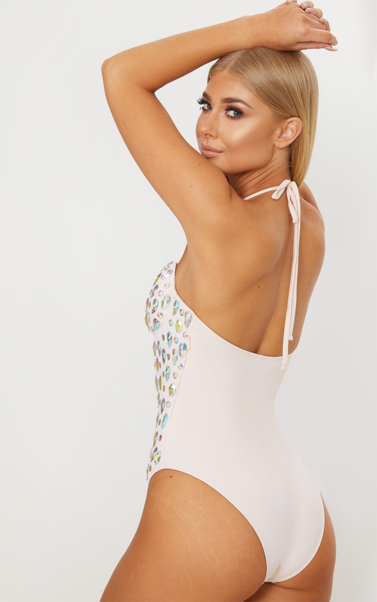 Premium Nude Cupped Iridescent Jewelled Pool Party Costume 3