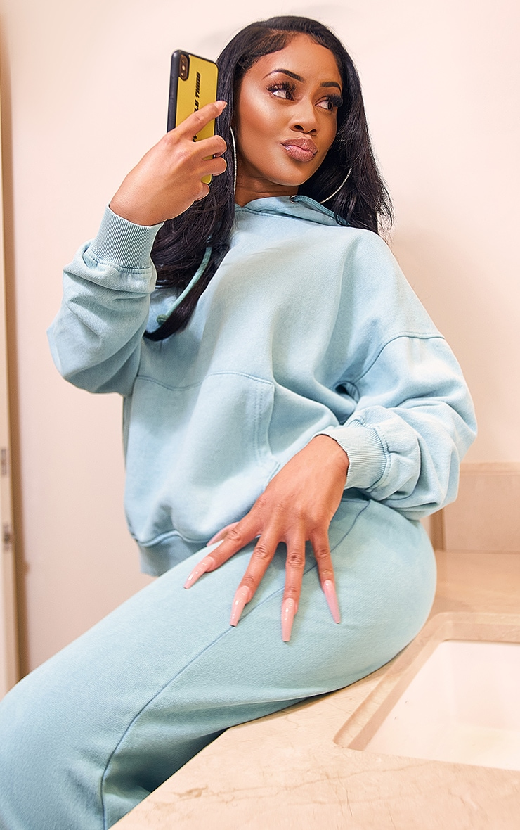 Teal Washed Oversized Hoodie