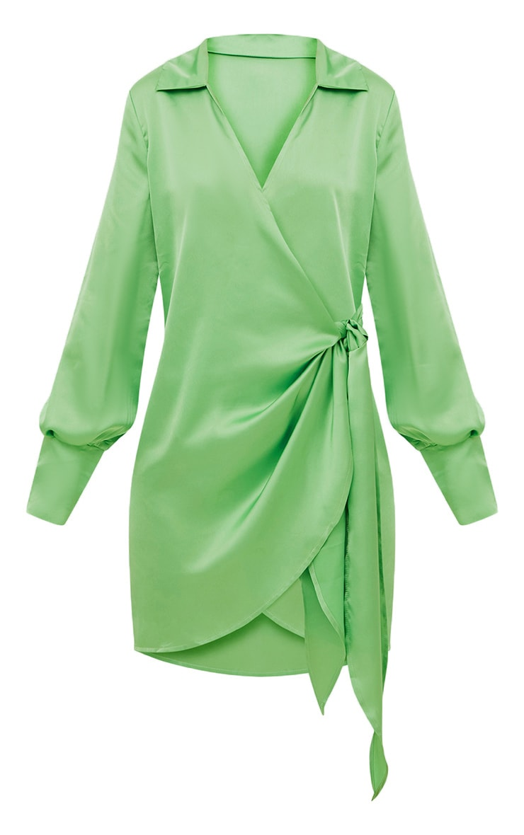 Lime Satin Deep Cuff Wrap Front Shift Dress  3