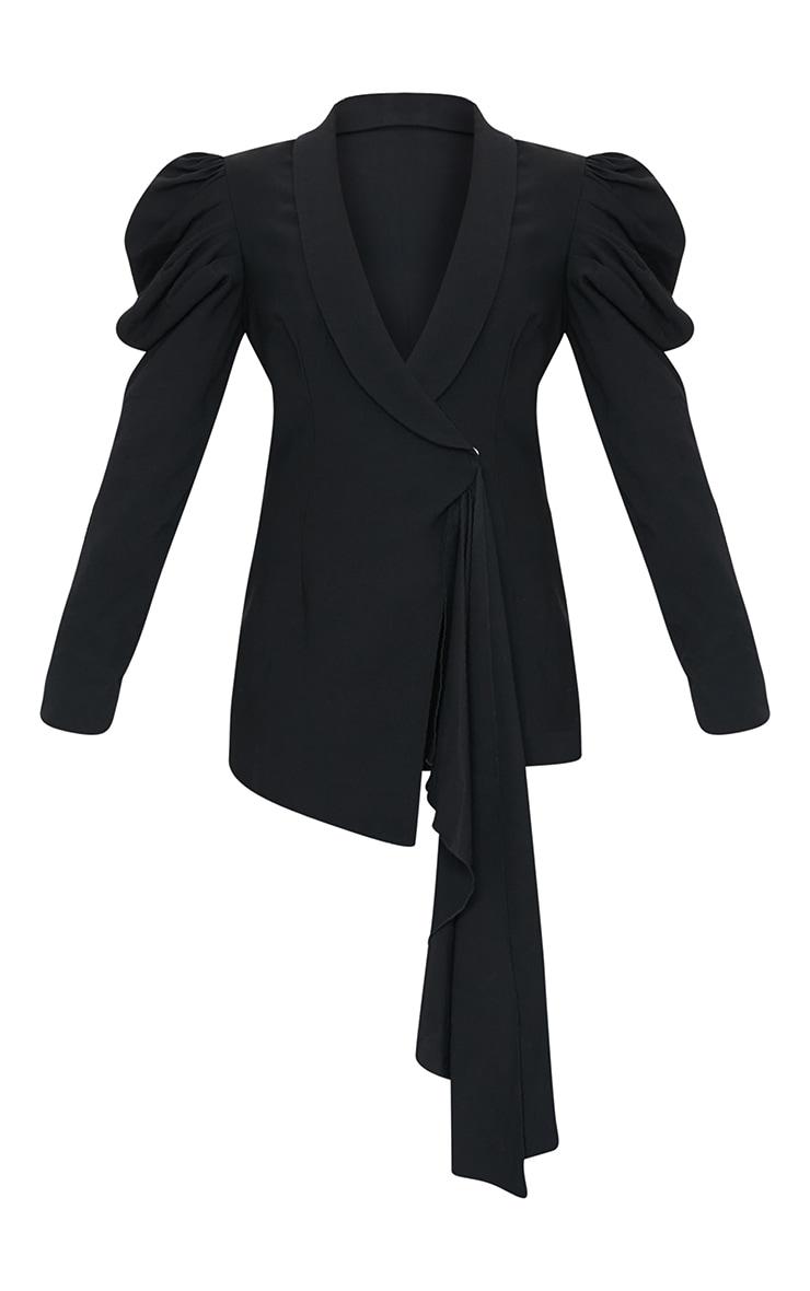 Black Woven Lapel Side Button Puff Sleeve Blazer 5