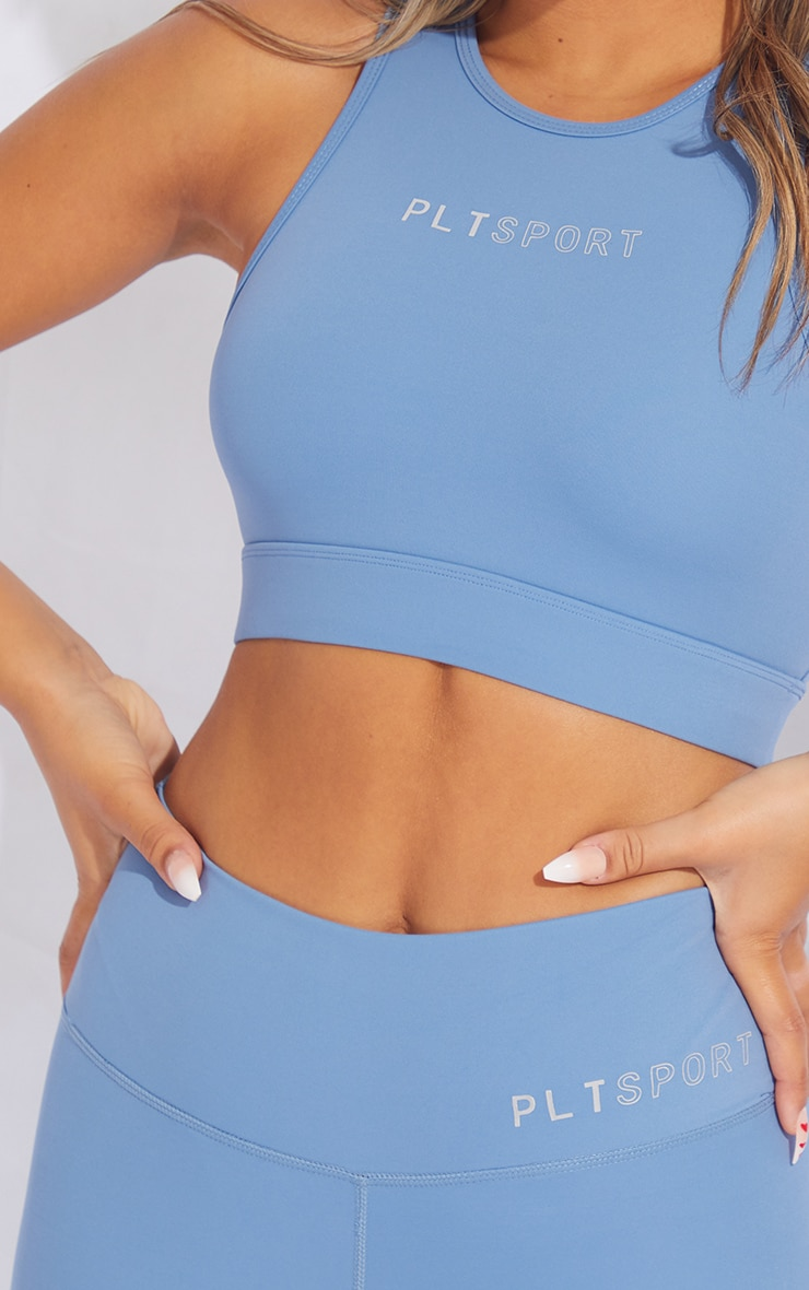PRETTYLITTLETHING Dusty Blue Sculpt Luxe Cropped Gym Top 4
