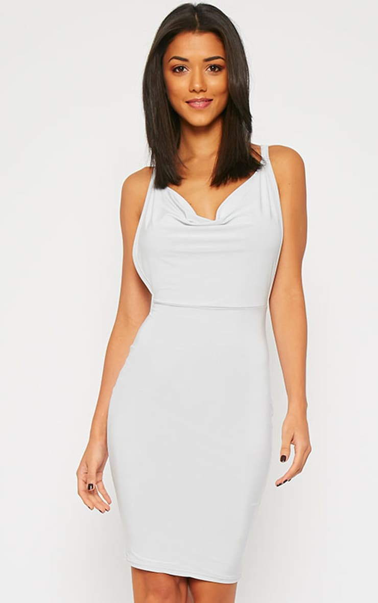 Orion Grey Slinky Cowl Neck Dress 1