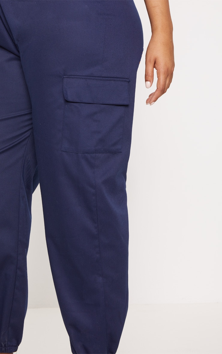 Plus Navy Pocket Detail Cargo Pants 4