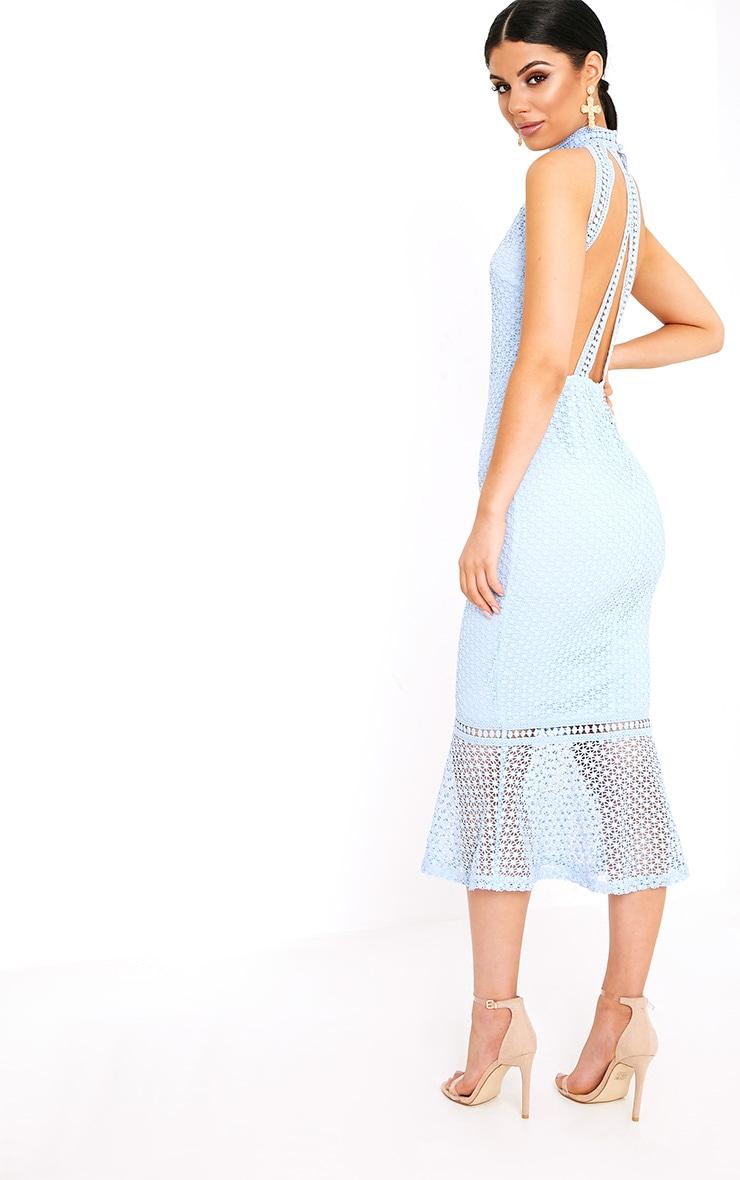 Kymmie Dusty Blue Lace High Neck Midi Dress  2
