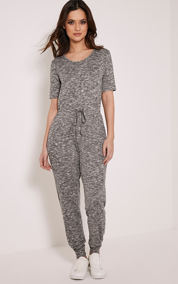 Kelsah Grey Marl Casual Jumpsuit 1