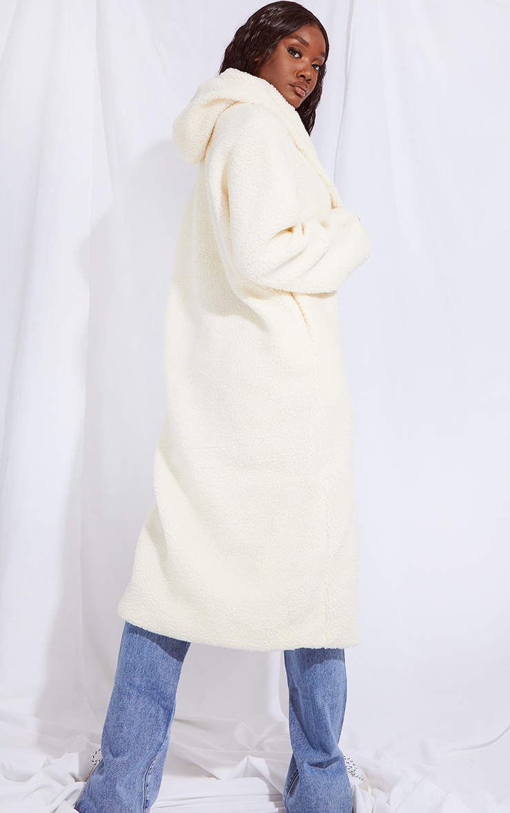 Tall Cream Borg Hooded Midi Coat 2