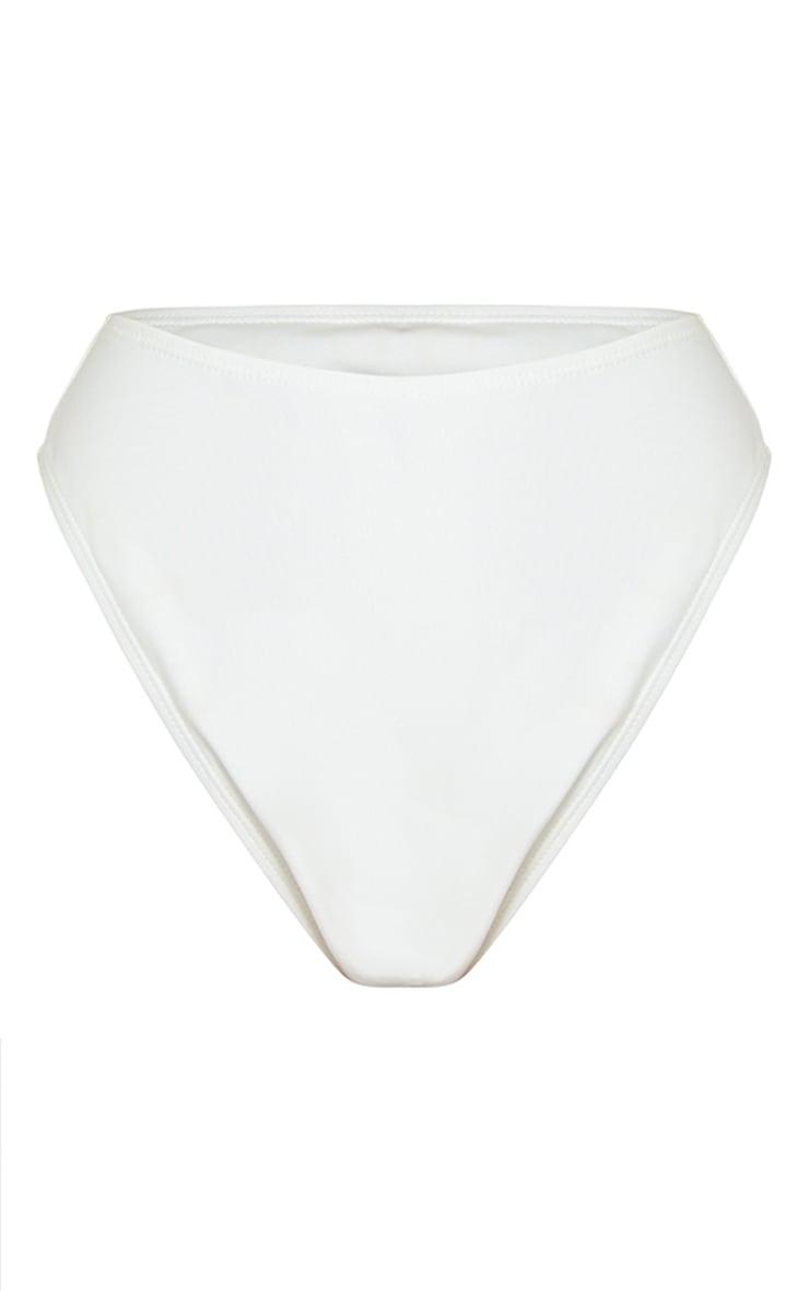 White Mix & Match Recycled Fabric High Waisted High Leg Bikini Bottom 6