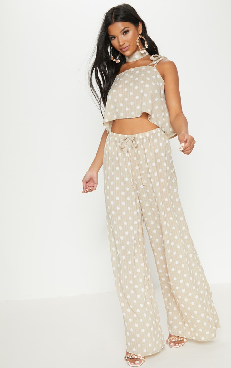 Stone Cheesecloth Polka Dot Crop Top 4