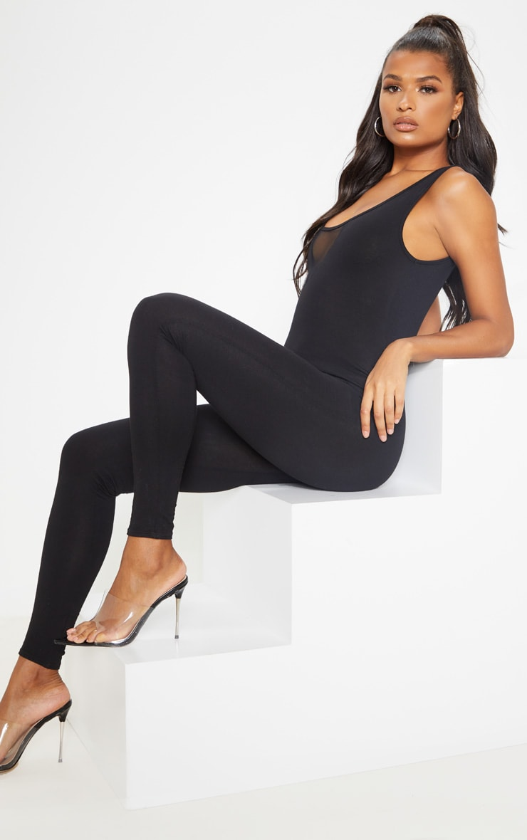 Black Cotton Elastane Mesh Panel Sleeveless Jumpsuit 4