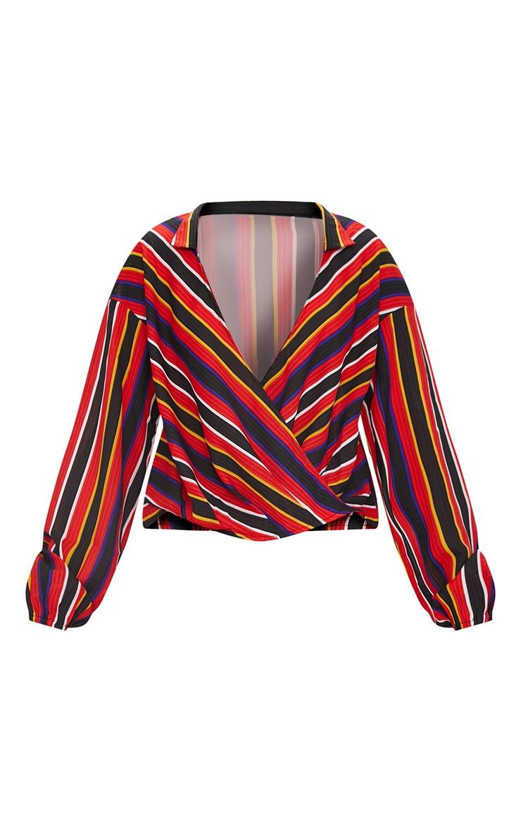 Red Stripe Collared Wrap Shirt 3