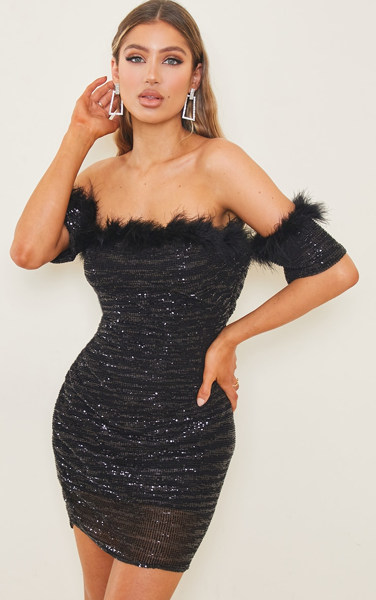 Black Sequin Bardot Feather Trim Bodycon Dress 1