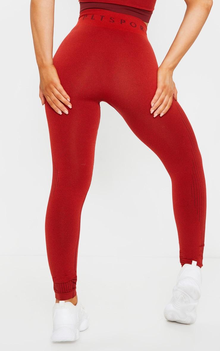 PRETTYLITTLETHING Red Rib Line Detail Seamless Gym Leggings 3