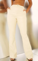 Cream Faux Leather Thong Back Flare Pants 2