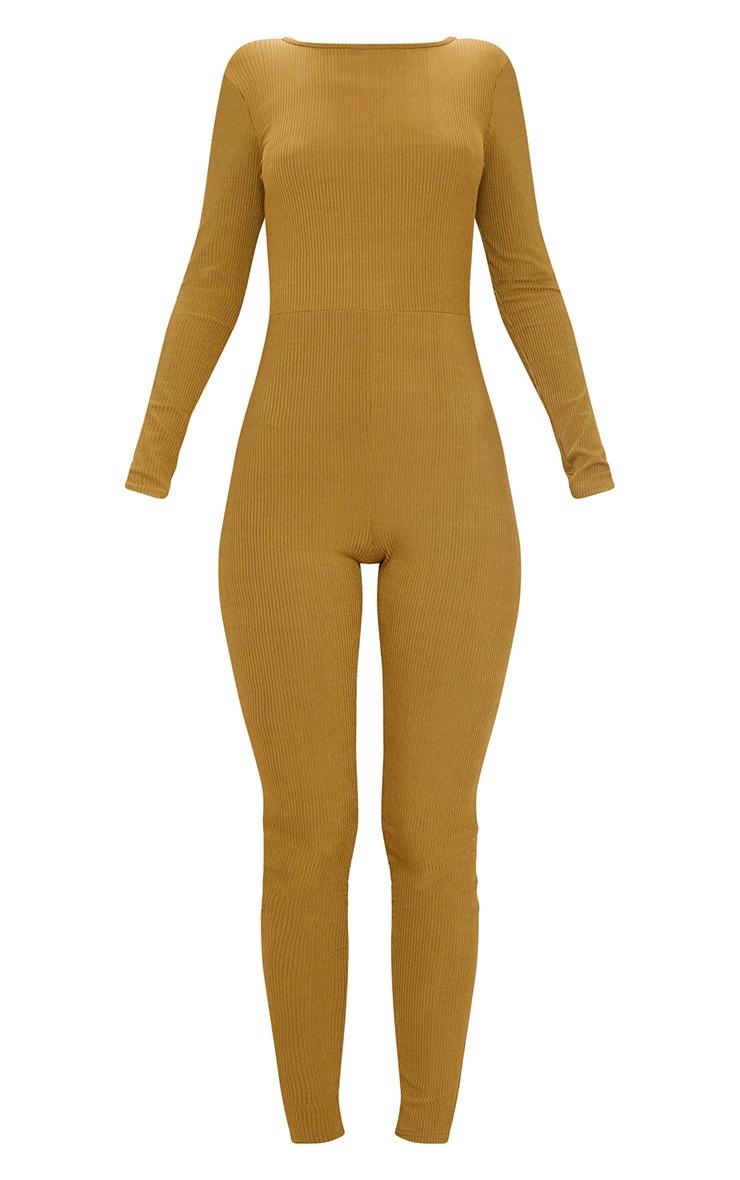 Khaki Ribbed Long Sleeve Scoop Back Jumpsuit 3