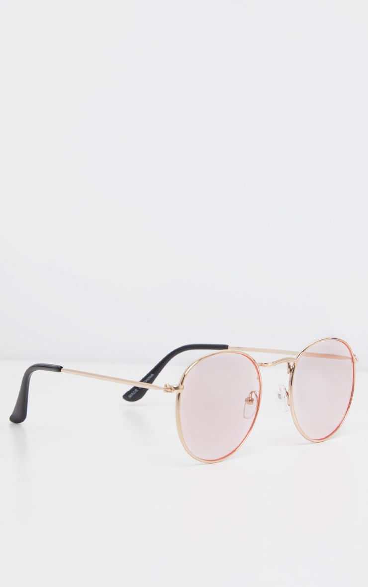 Pink Rounded Lens Retro Sunglasses 3