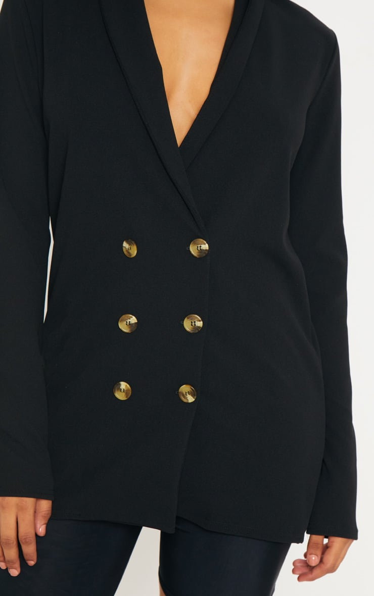 Tall Black Tortoise Button Blazer  5