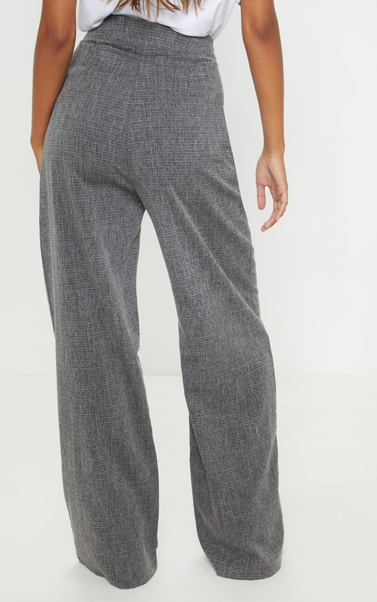 Charcoal Grey Tortoise Shell Double Button Wide Leg Trouser 4