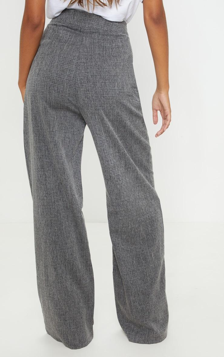 Charcoal Grey Tortoise Shell Double Button Wide Leg Pants 4