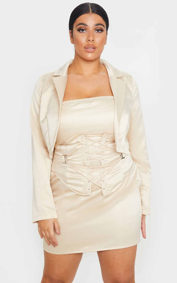 Plus Champagne Cropped Satin Blazer 4