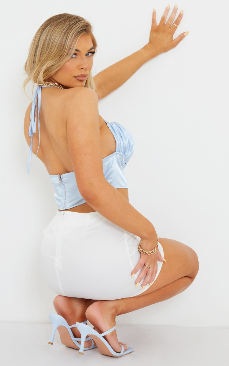 Pale Blue Satin Ruched Back Strap Detail Cami 2