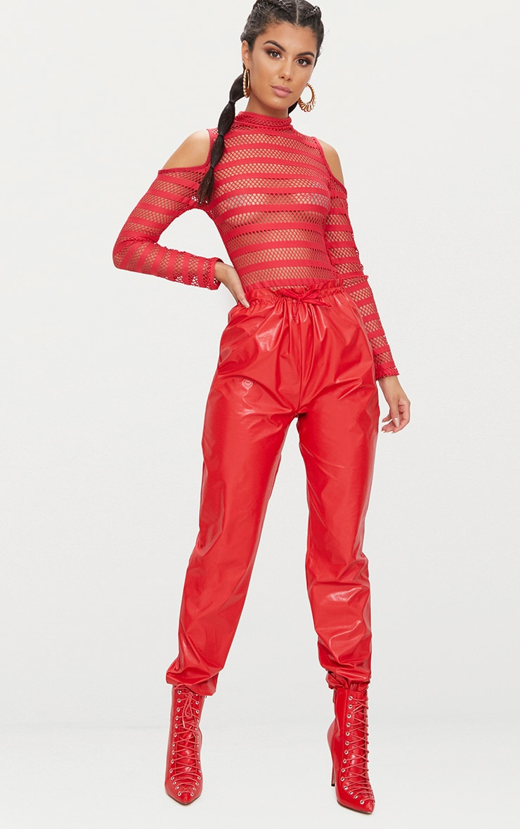 Red Fishnet Cold Shoulder Thong Bodysuit  5