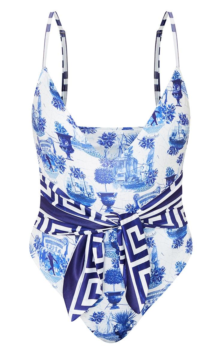 Blue Greek Key Tie Waist Swimsuit 5