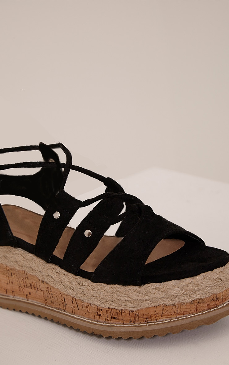 Adelina Black Lace Up Flatform Sandals 5
