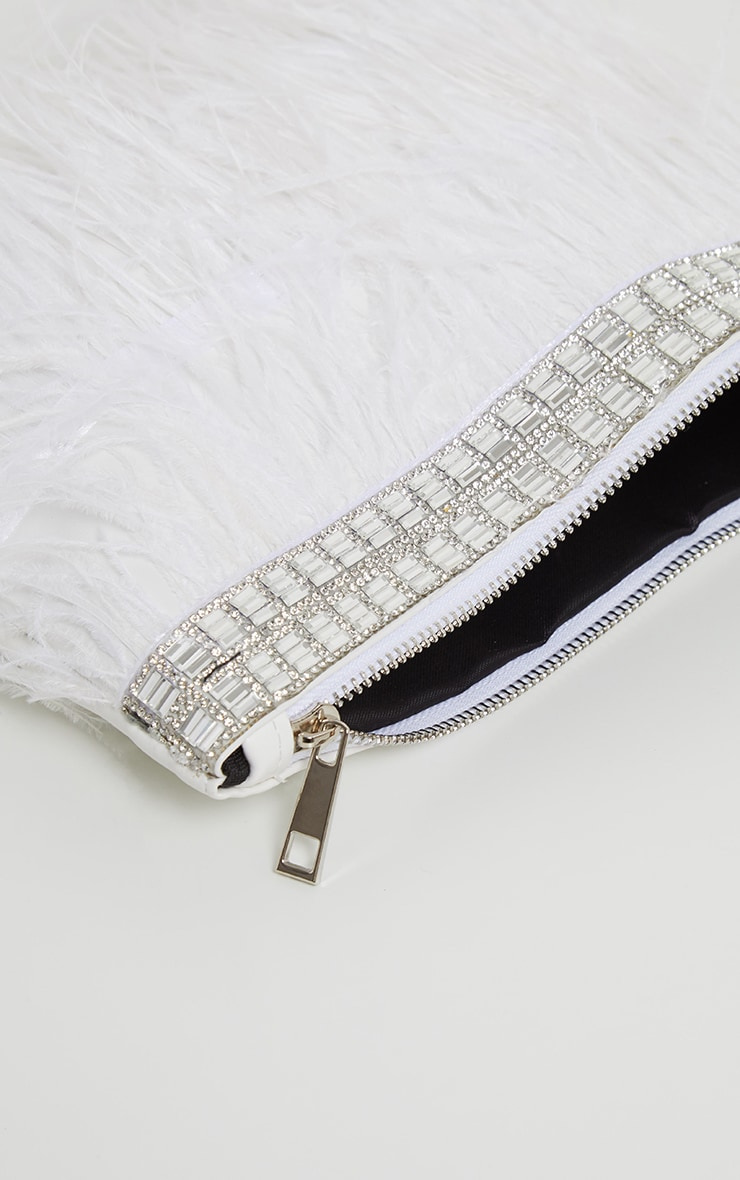 White Feather Diamante Border Clutch 3