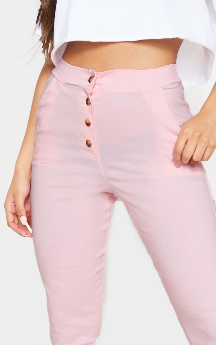 Pastel Pink Button Front High Waisted Skinny Trouser 4
