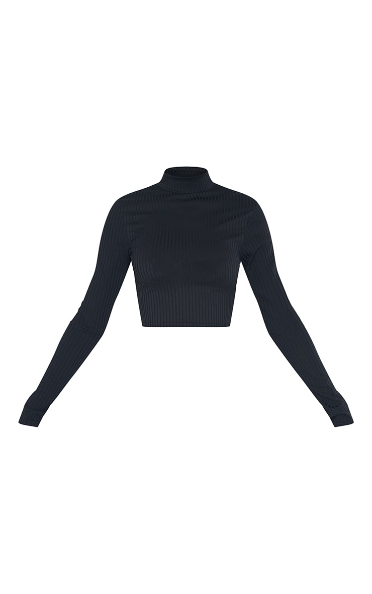 Tall Black High Neck Ribbed Long Sleeve Crop Top 5