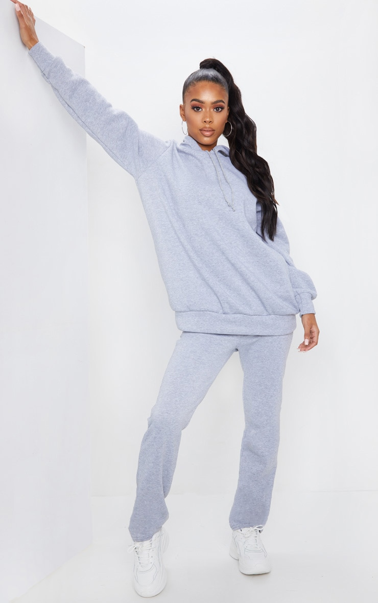Grey Oversized Sweat Hoodie & Straight Leg Jogger Set 1