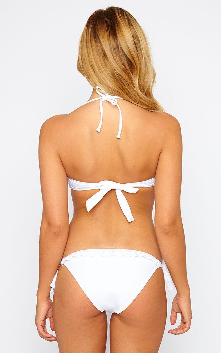 Amyas White Ruffle Front Bikini Top 2