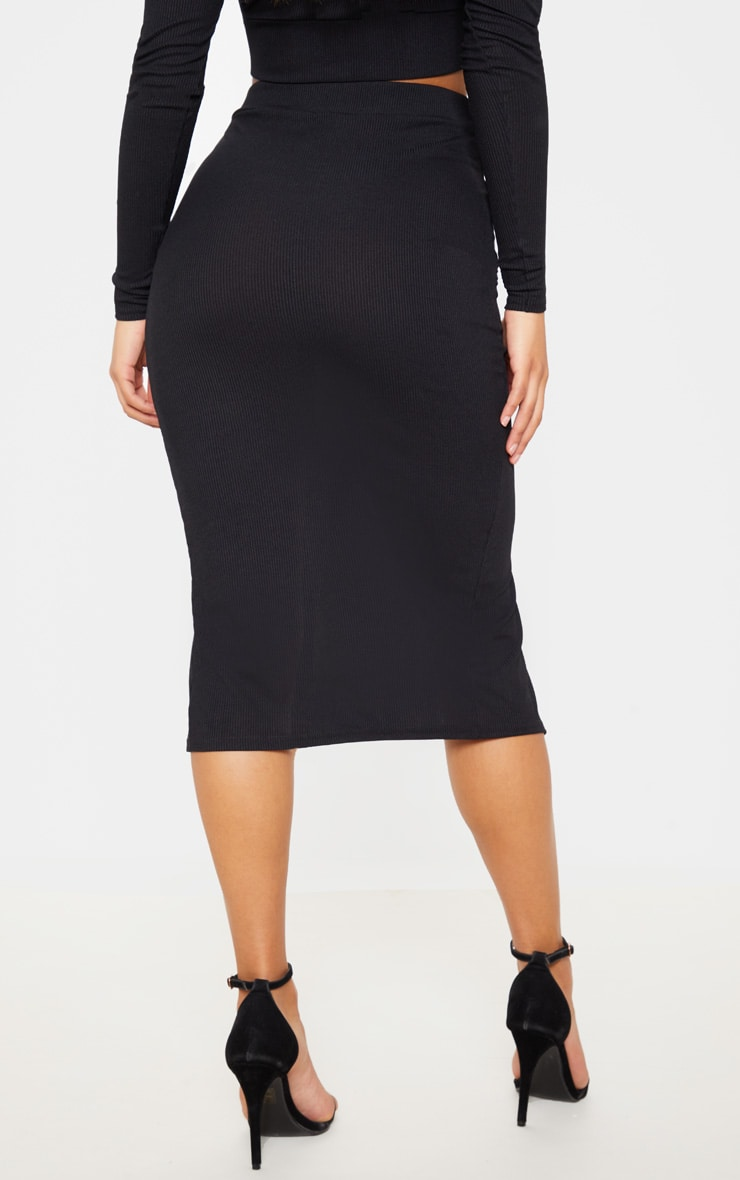 Black Rib High Waisted Tortoise Button Detail Midi Skirt 4