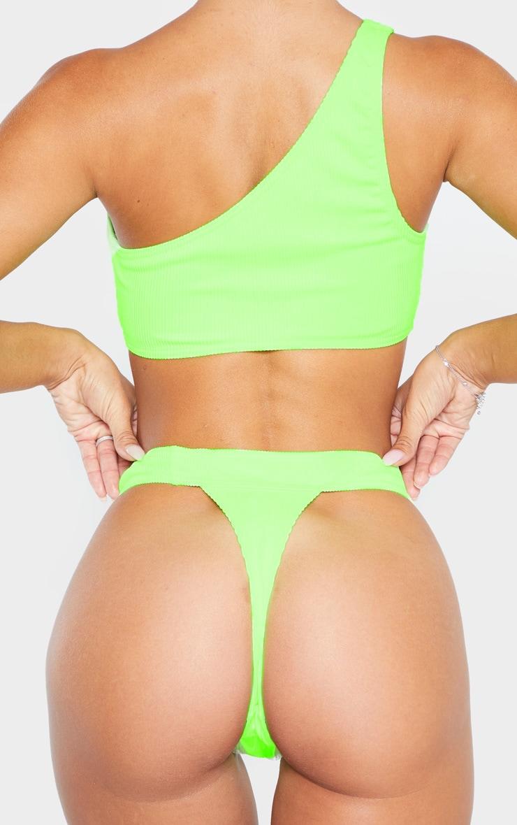 Lime Mix & Match Ribbed Thong Bikini Bottom 3