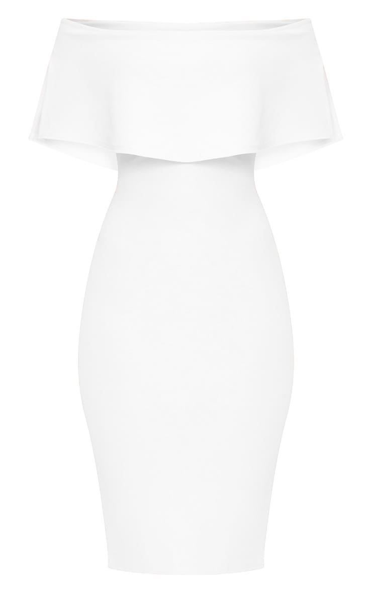 White Bardot Frill Midi Dress 3