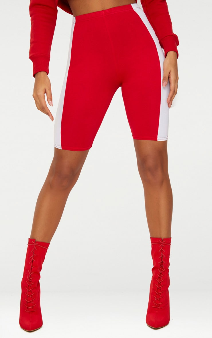 Red Contrast Panel Bike Shorts 2