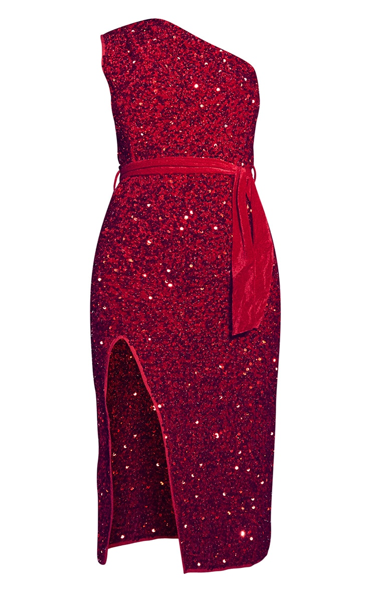Red Premium Velvet Sequin One Shoulder Tie Waist Midi Dress 5