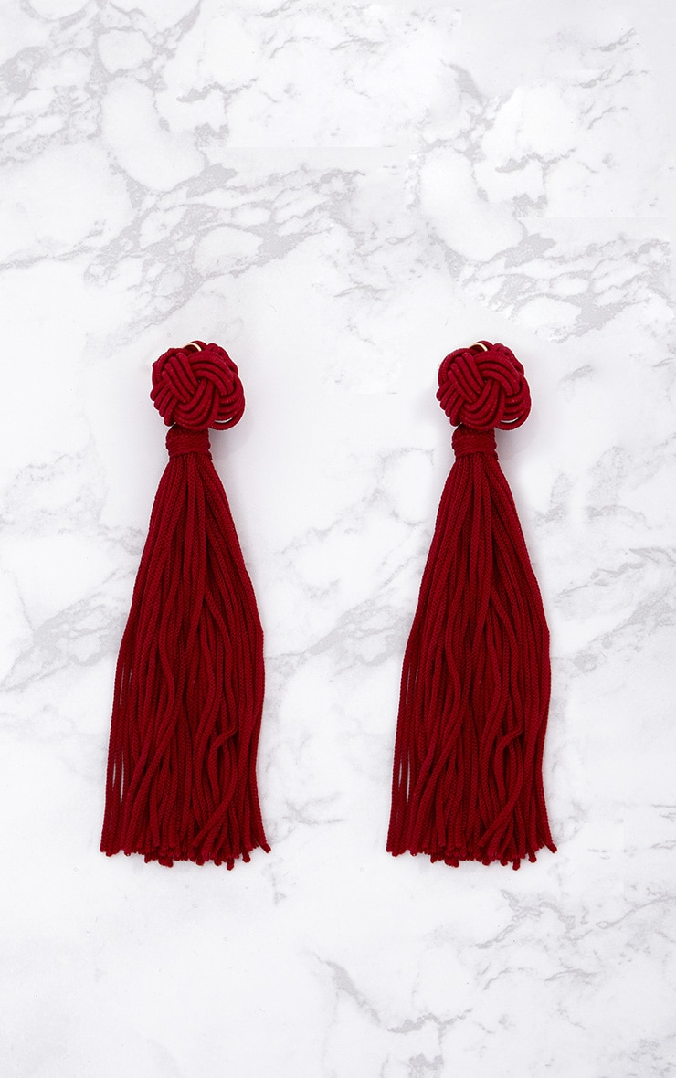 Burgundy Knotted Tassel Earrings 3