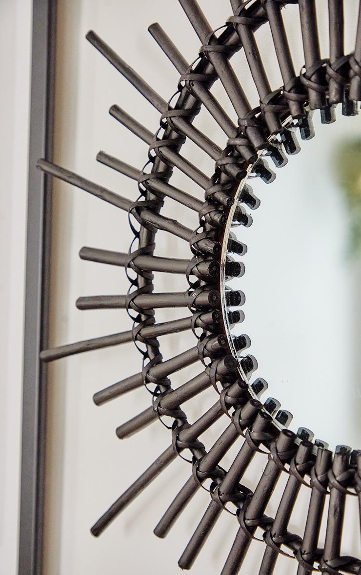 Black Rattan Starburst Mirror 3