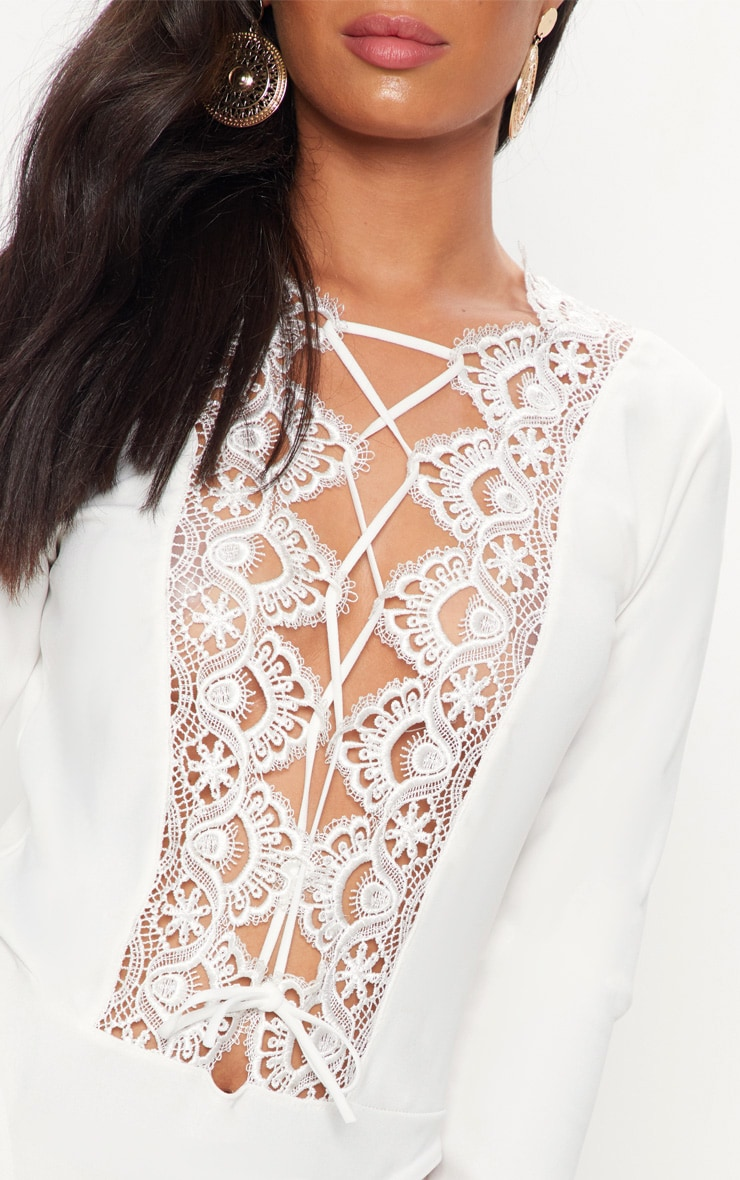 White Lace Up Long Sleeve Thong Bodysuit 6