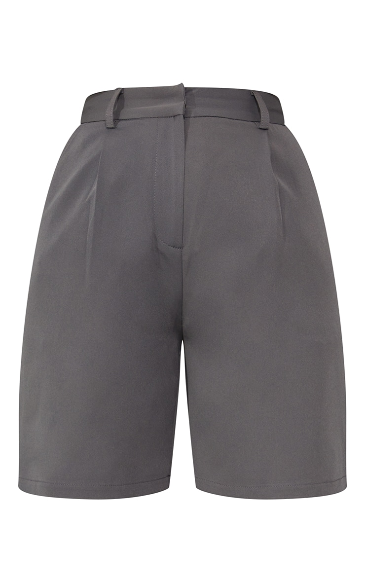 Charcoal Grey Woven Tailored Longline City Shorts 6