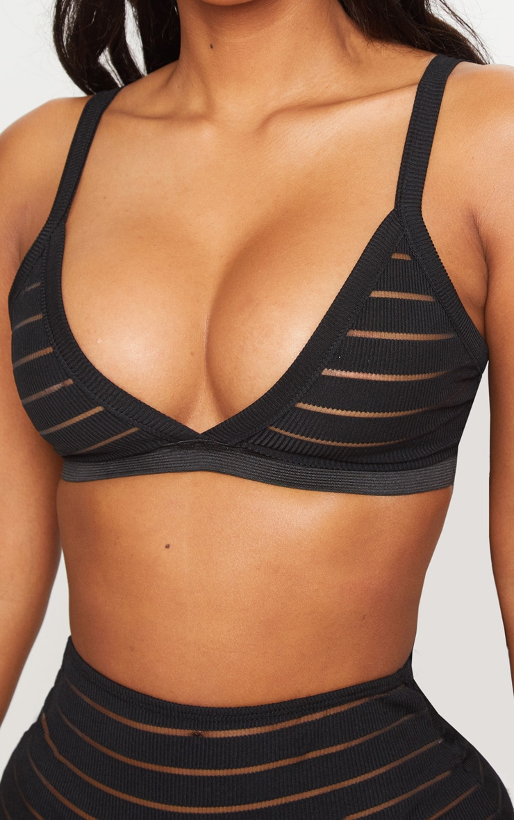 Shape Black Burnout Mesh Bra 5