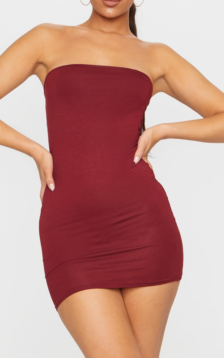 Burgundy Bandeau Bodycon Dress 4