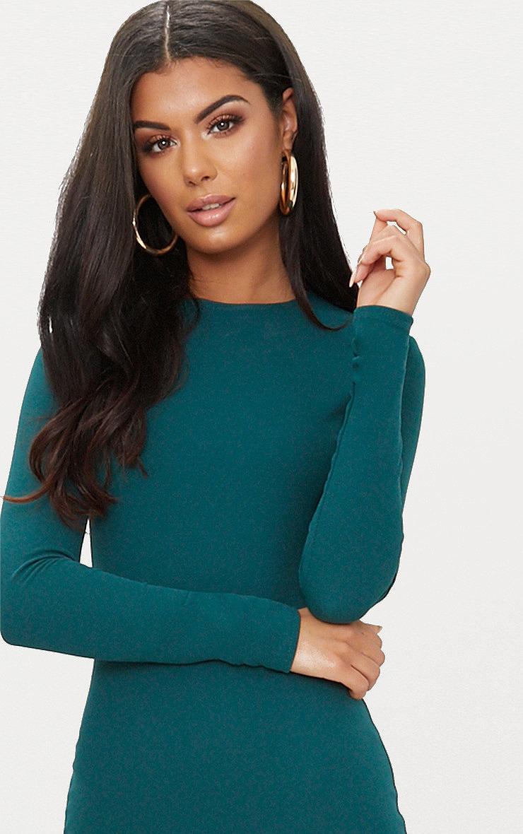 Emerald Green Long Sleeve Wrap Skirt Bodycon Dress 5