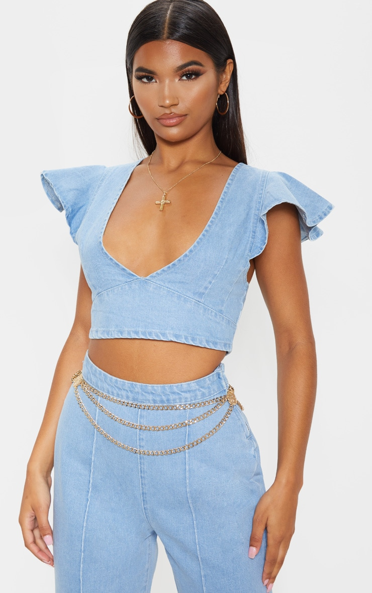 Light Wash Flared Sleeve Crop Top  1