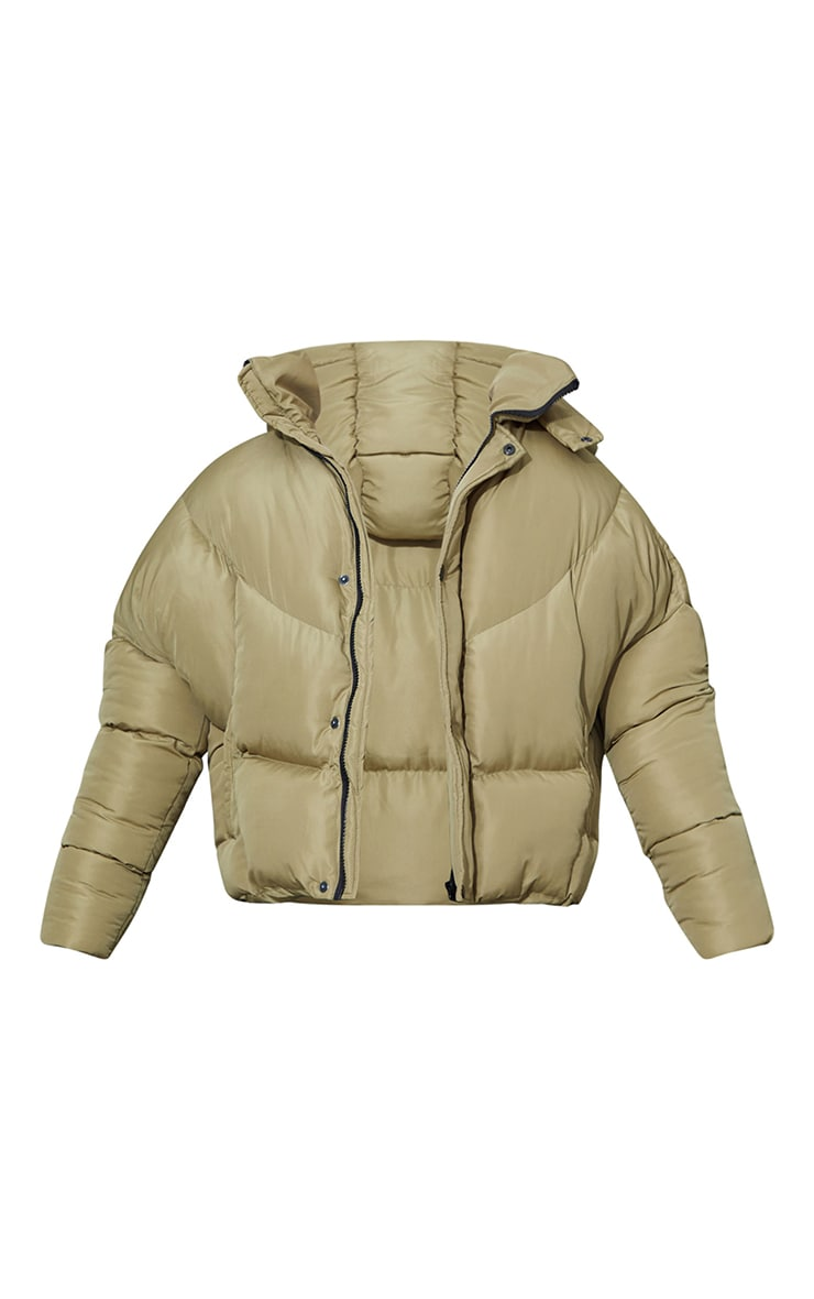 Khaki Nylon Oversized Curved Panel Wadded Puffer Jacket 5
